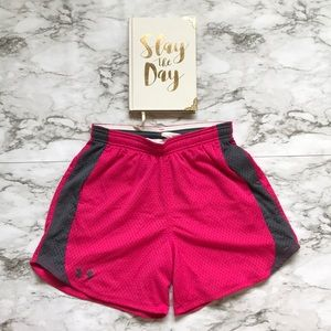 Under Armour Pink and Gray Mini Basketball Shorts